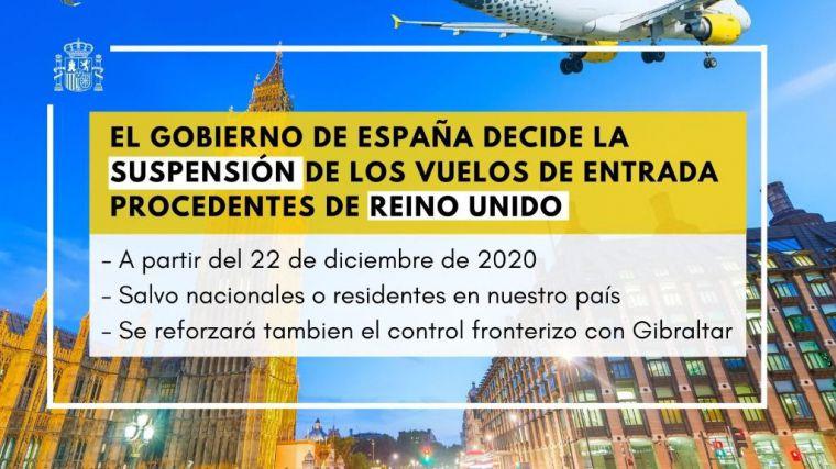 El Gobierno suspende vuelos de entrada procedentes de Reino Unido
