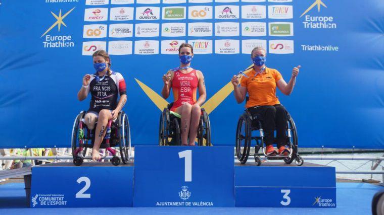 El triatlón paralímpico español triunfa en el europeo de Valencia