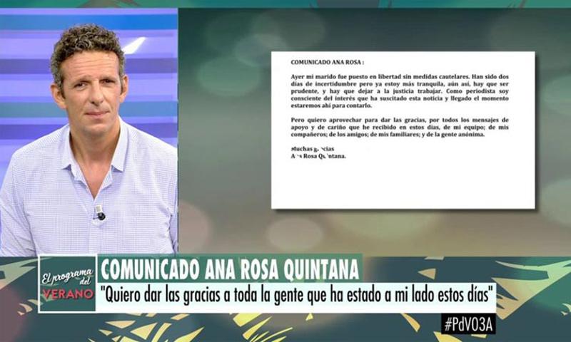 Comunicado oficial de Ana Rosa Quintana