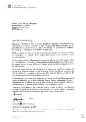 Respuesta de Puigdemont a Rajoy