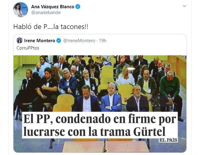 Una diputada del PP responde así a Irene Montero: 'Habló de P....la tacones'
