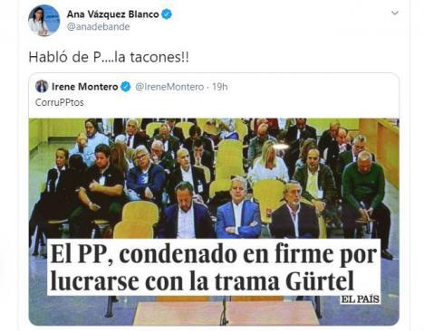 Una diputada del PP responde así a Irene Montero: