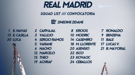 Zidane convoca a los 23 jugadores de la primera plantilla